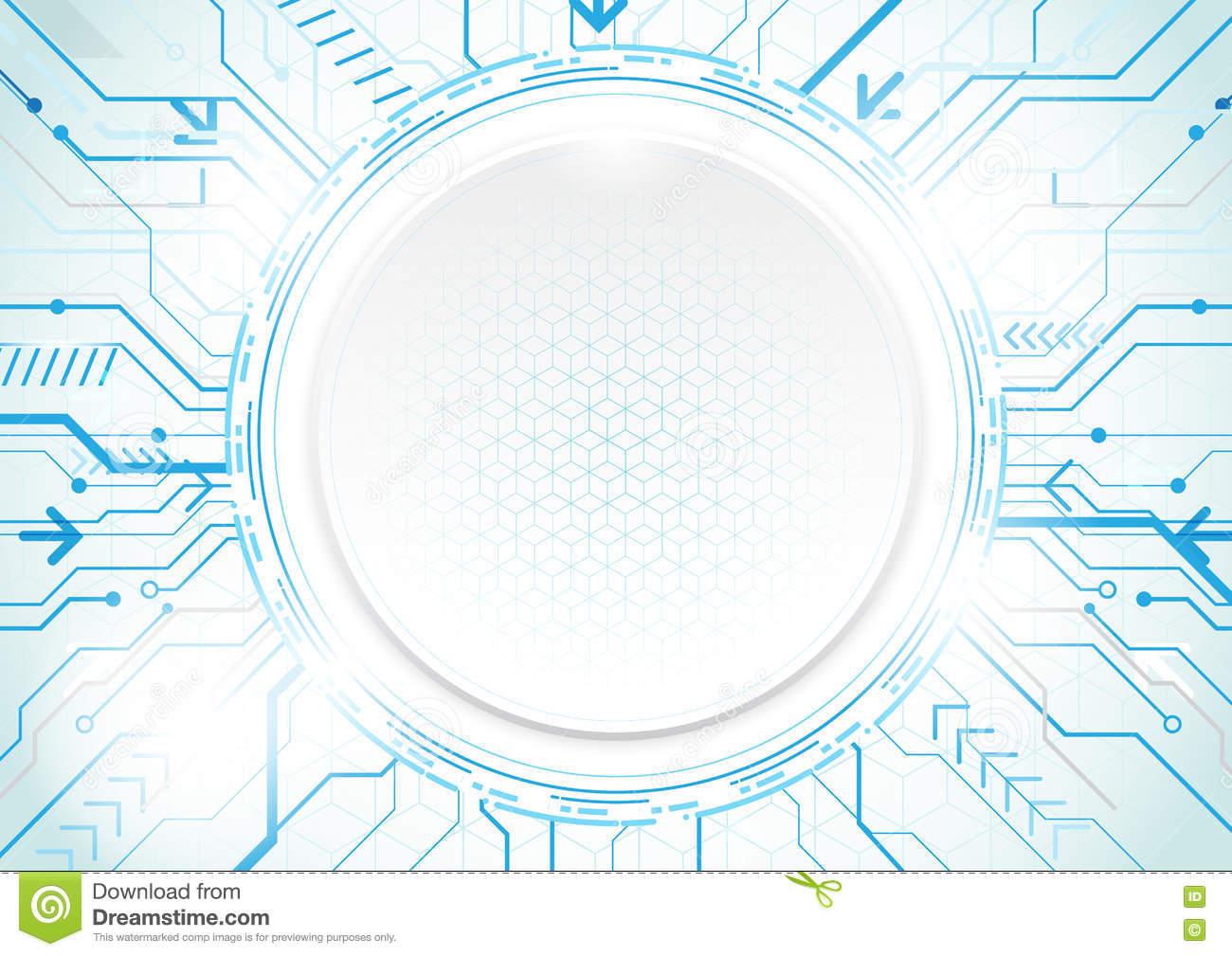 Abstract technology blue background. Circle geometric modern con