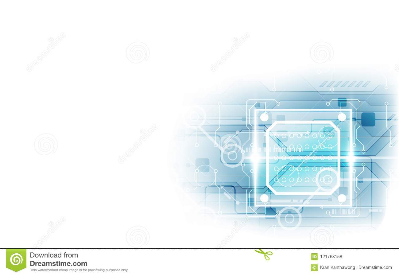 Abstract Technology Chip Processor Background Circuit Board And Code Diagram Download Illustration Blue Vector
