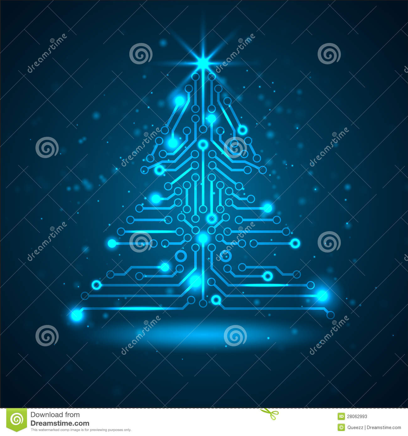 Technology Management Image: Abstract Technology Christmas Tree. Stock Vector