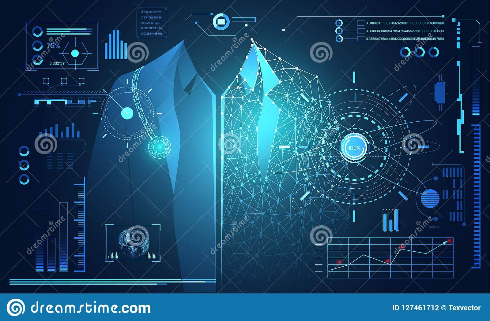 Abstract technology science concept human data health digital :
