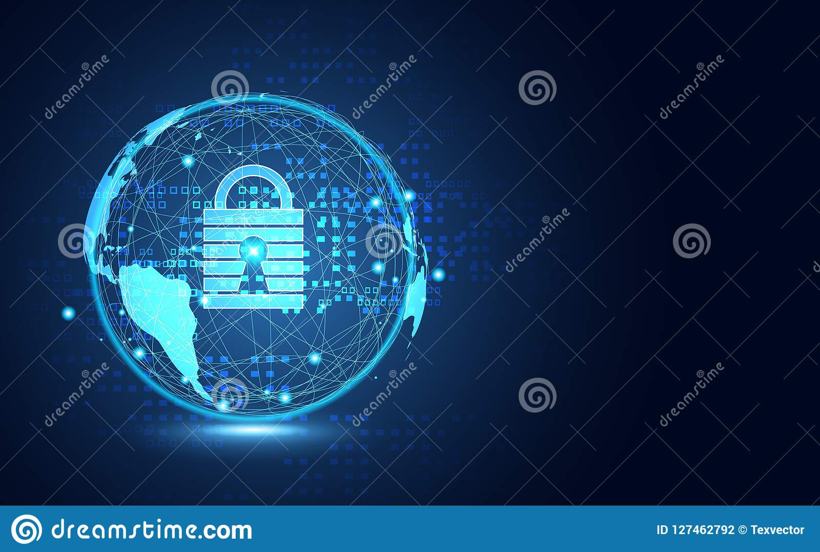 Abstract technology world cyber security privacy information net