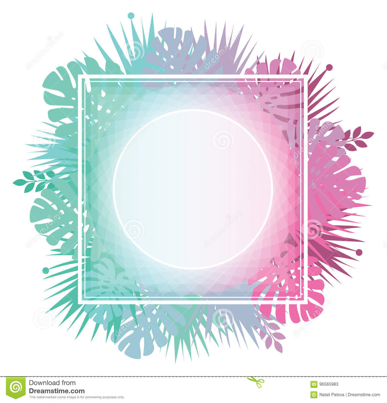abstract template with gradient backgrounds and tropical leaves