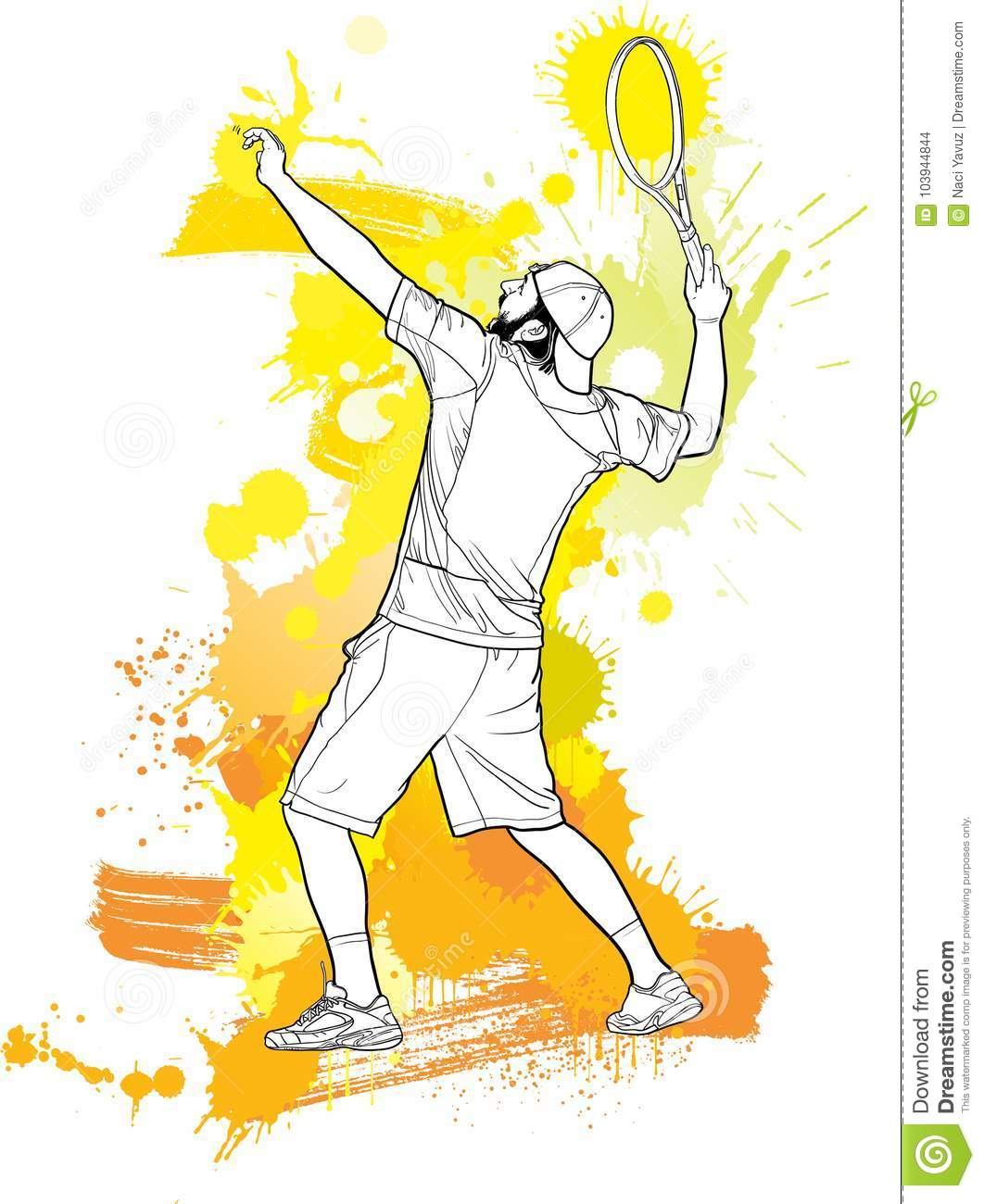 Abstract Tennis Player Clip Art
