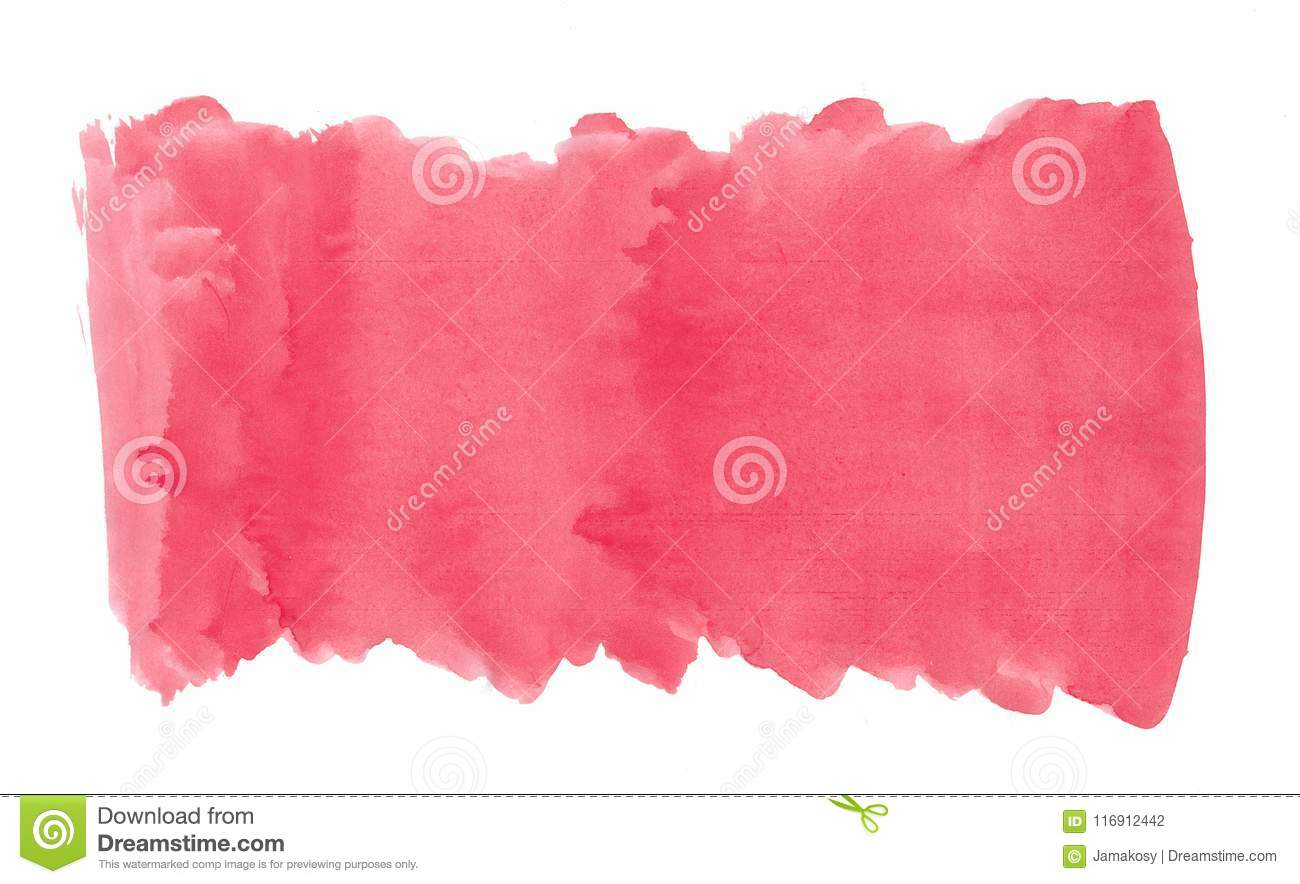 Abstract texture brush ink background red pink aquarell watercolor splash paint on white background
