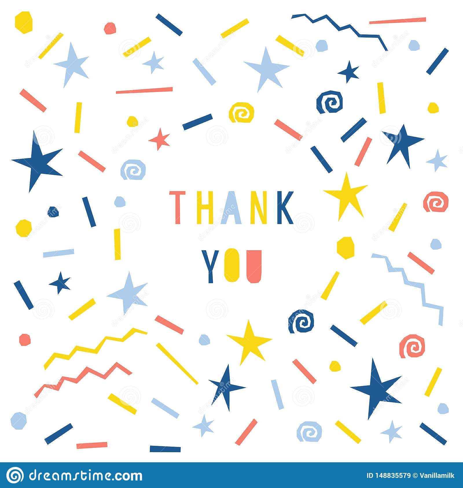 Abstract Thank You Card Template Handmade Childish Letters