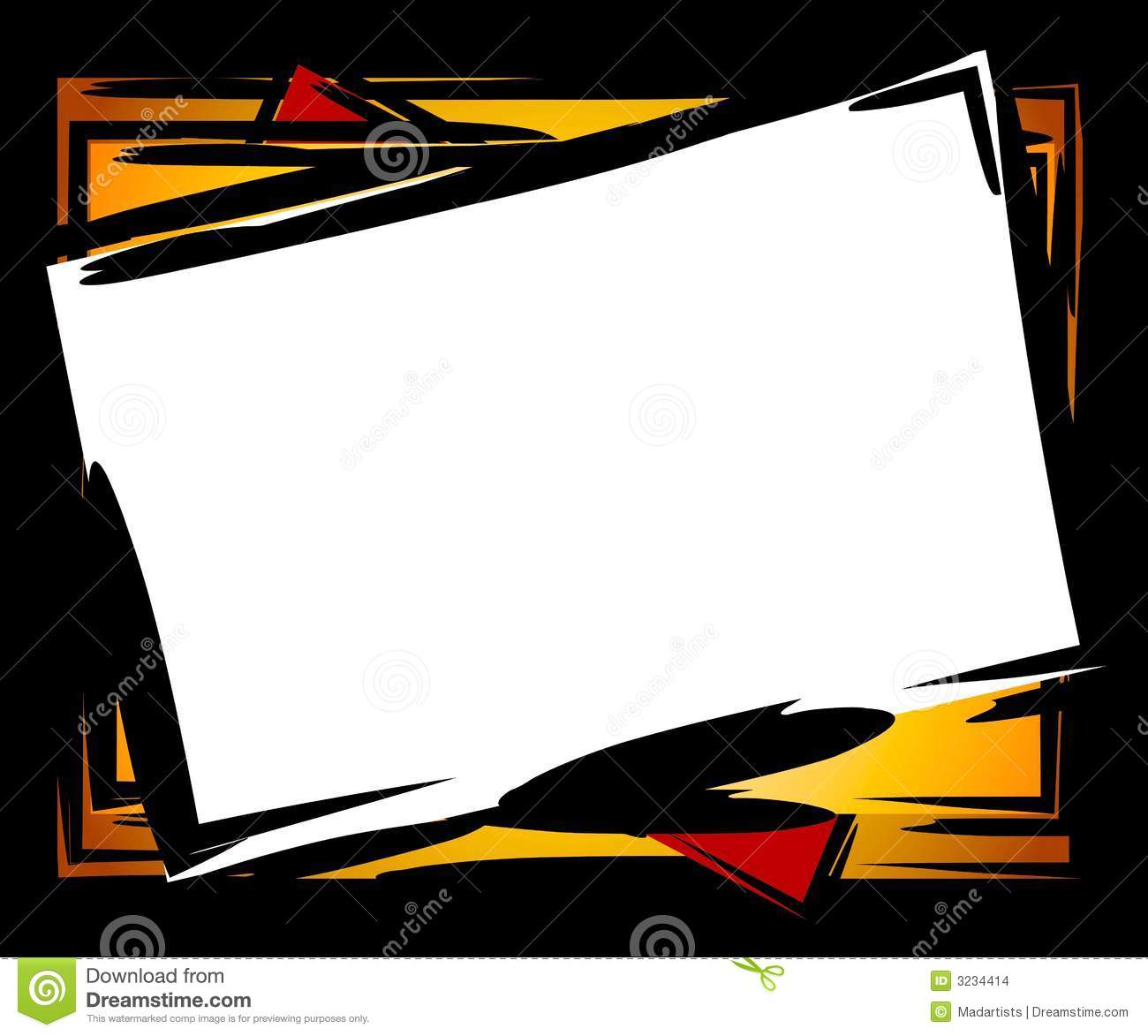 Clip Art Frame Or Border In Chunky Black Outlines Tilted With White