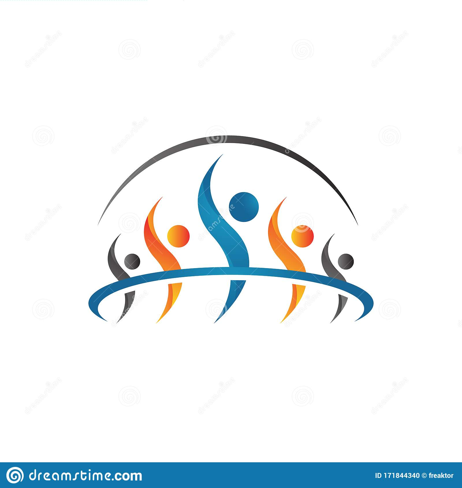Abstract Together Unity People Community Logo Design