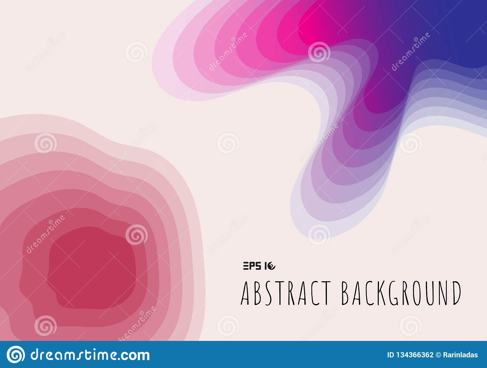 Abstract topography 3D paper cut geometric with gradient on blue and pink background and texture