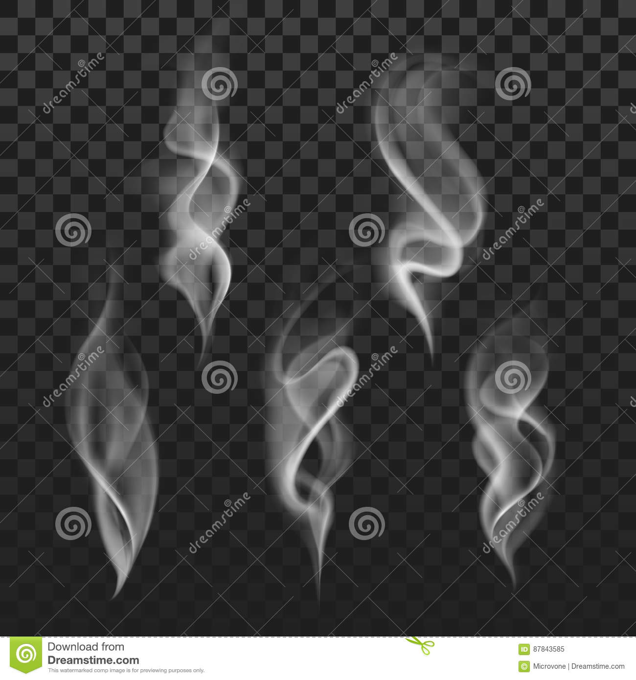 Abstract transparent smoke hot white steam isolated on checkered background