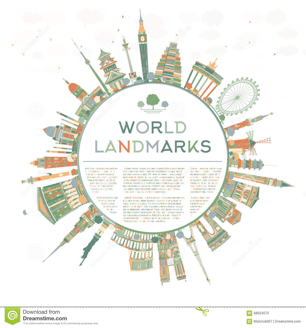 Abstract Travel Concept Around The World With Famous ...