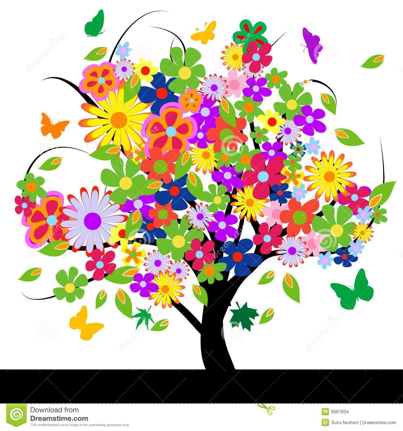 Abstract tree with flowers stock vector. Illustration of ...