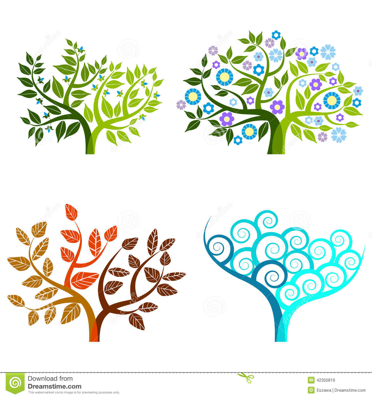 Abstract Tree Graphic Elements Four Seasons Stock