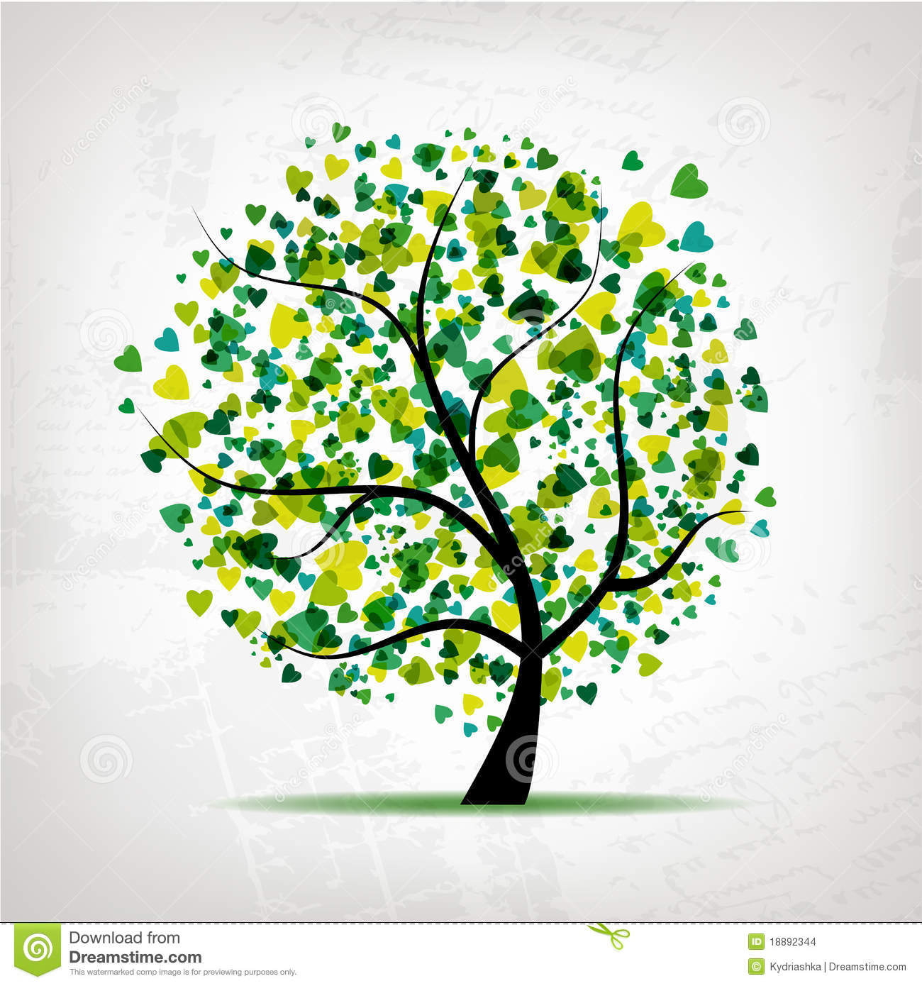 Abstract tree with heart leaf on grunge background