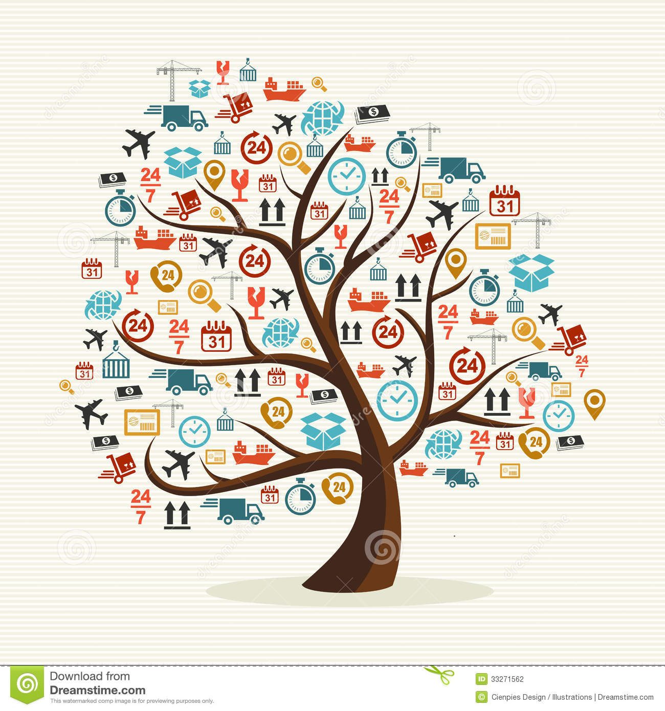 Abstract Tree Shape Colorful Shipping Icons Illust Stock Photography ...