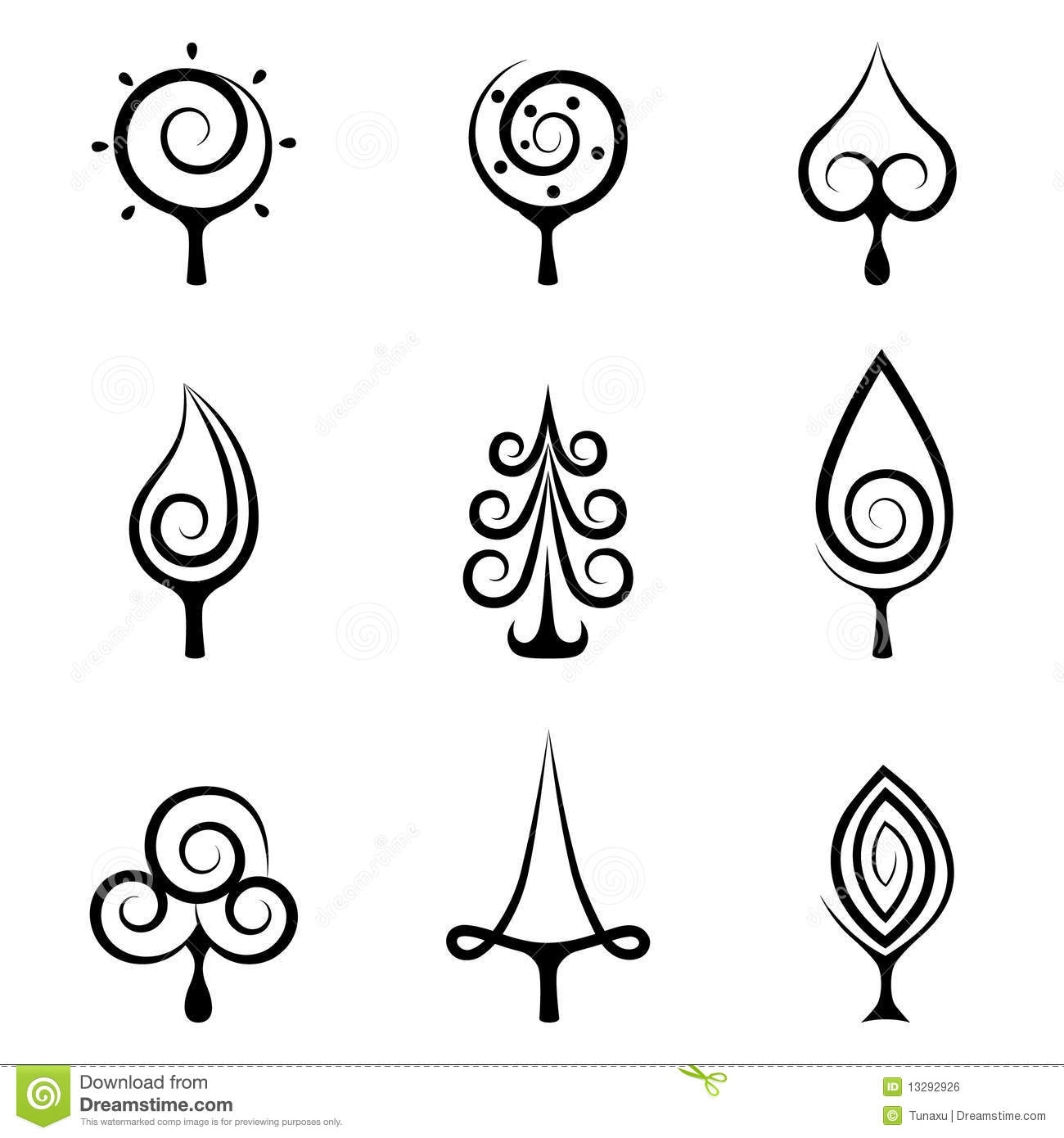 Abstract Tree Symbols Royalty Free Stock Image Image