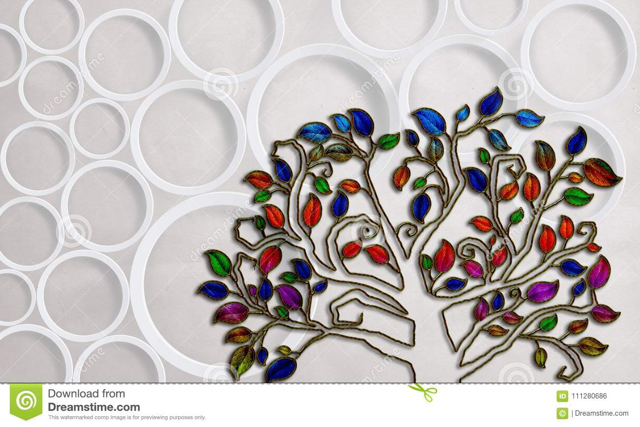 Abstract Tree On White Background With Circles Photo Wallpaper For Interior 3D Rendering