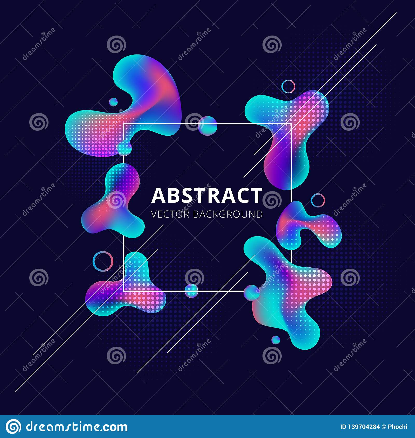 Abstract Trendy Fluid Shape Bright Gradient Colors On Dark