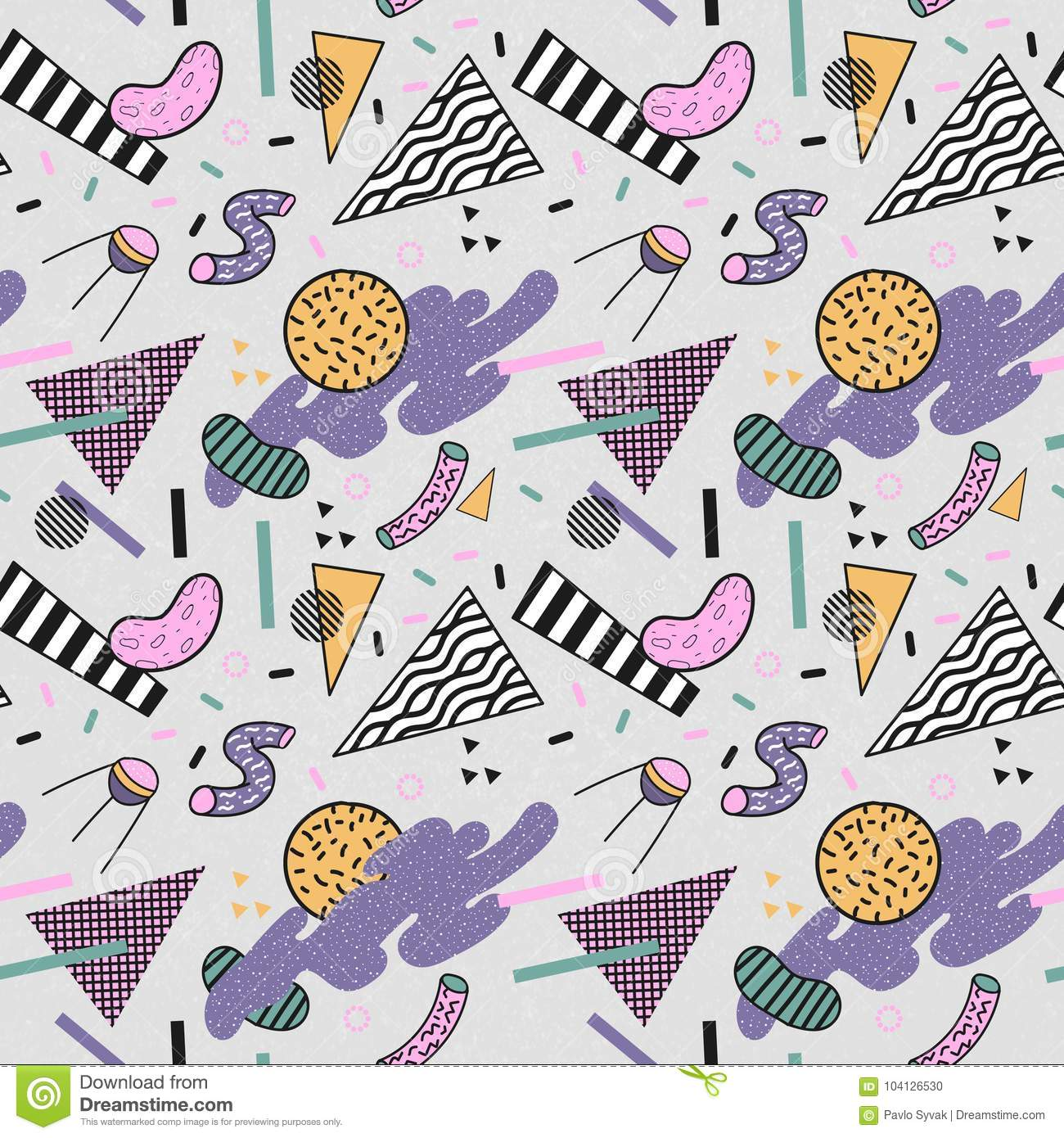 Abstract Trendy Memphis Seamless Pattern  Space Geometric