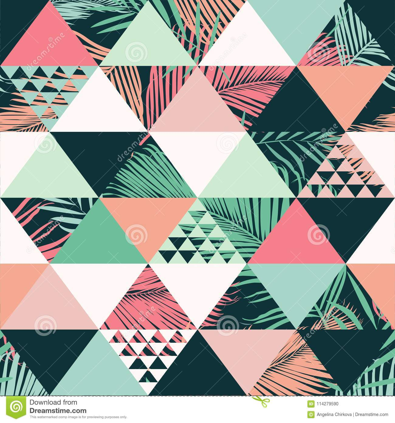 Abstract Trendy Seamless Pattern Illustrated Floral Vector