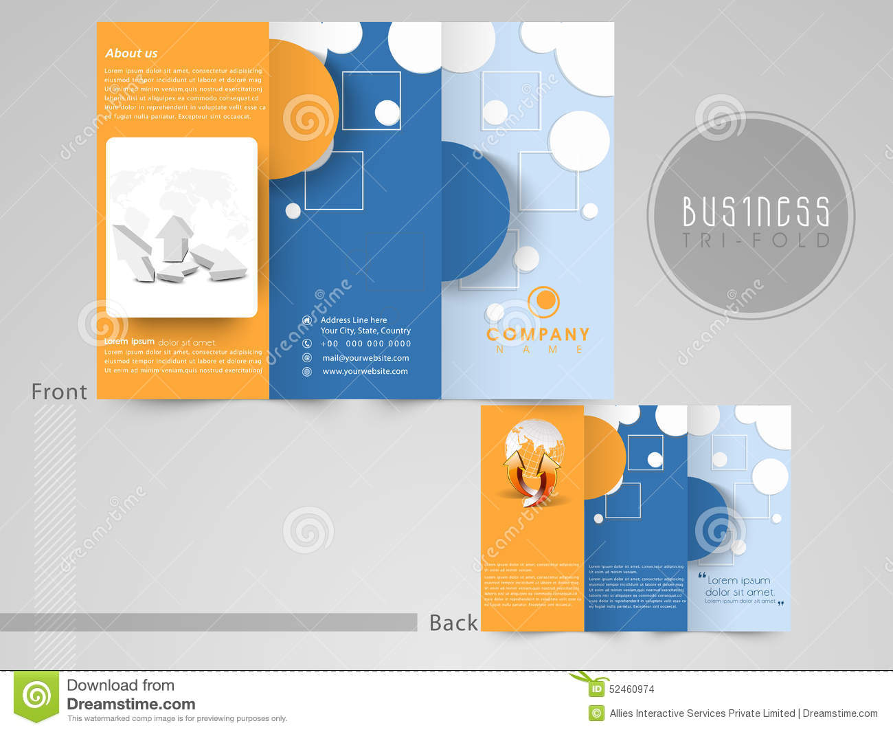 abstract tri fold flyer template or brochure for your business