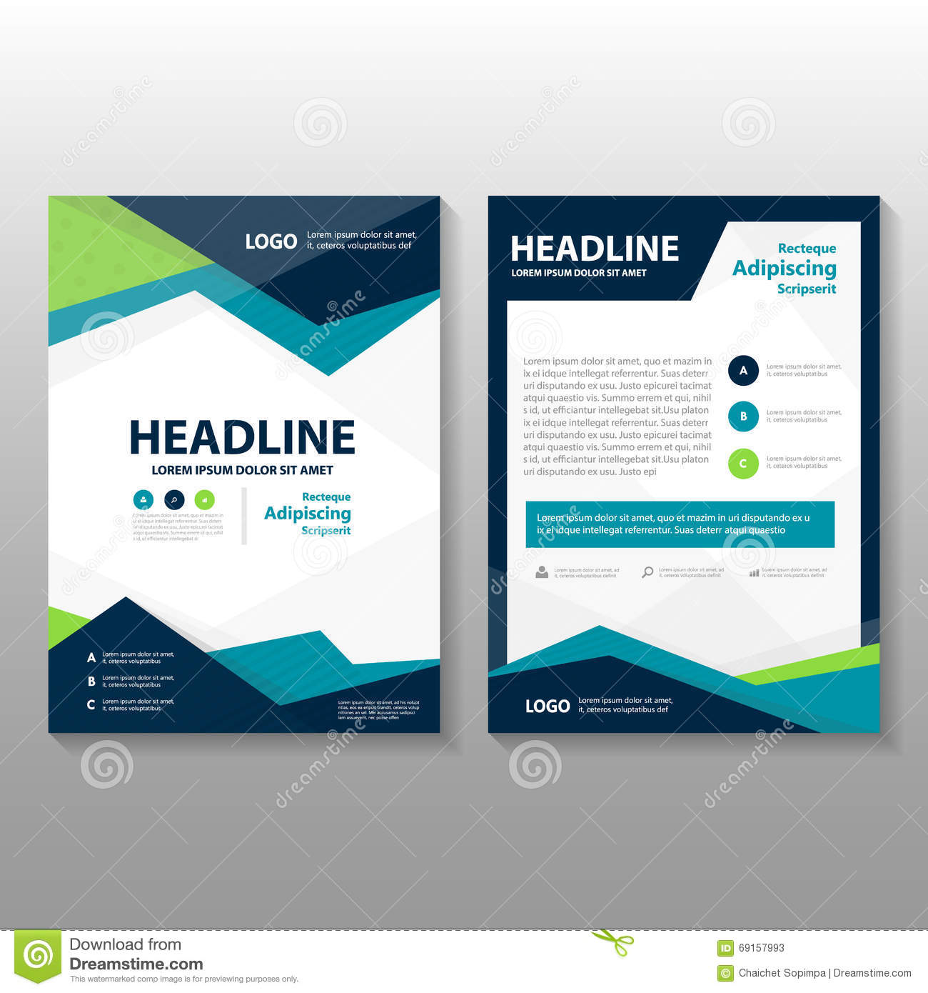 brochure template design - abstract triangle blue green purple polygon annual report
