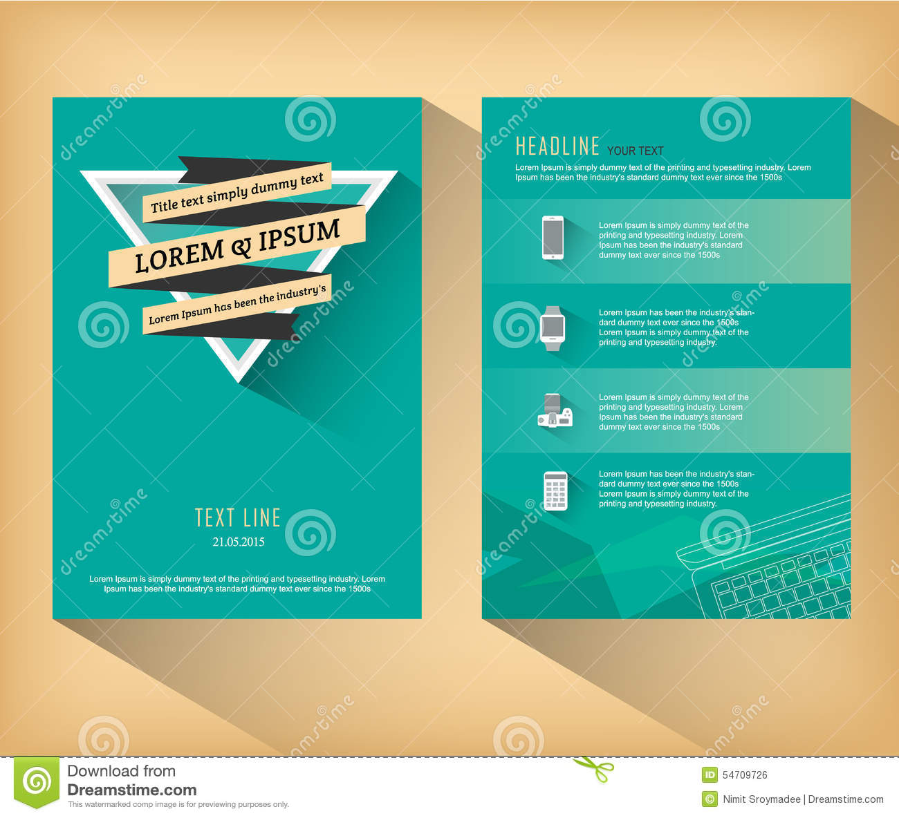 abstract triangle brochure flat design template stock vector