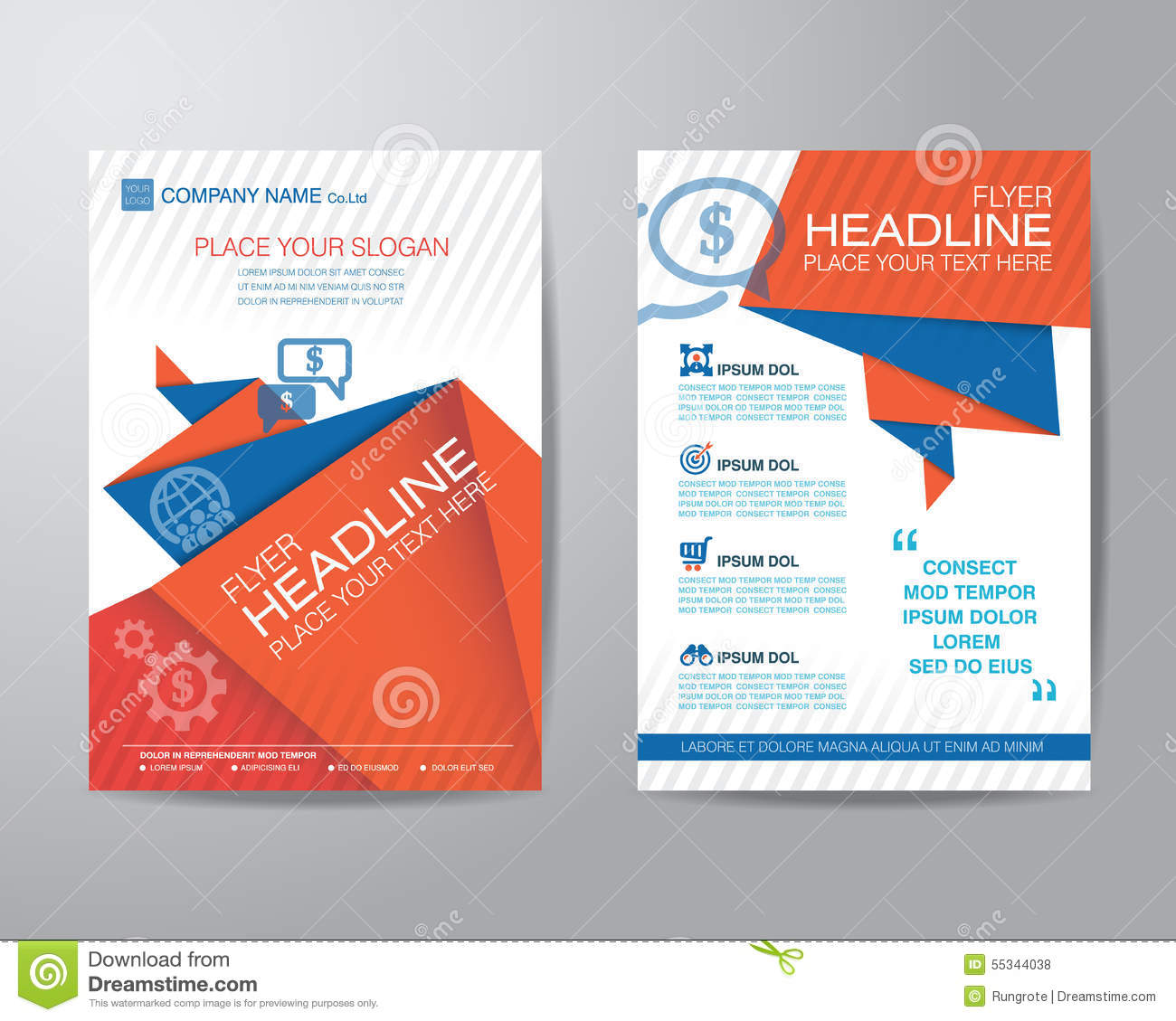 brochure template design - abstract triangle brochure flyer design layout template in