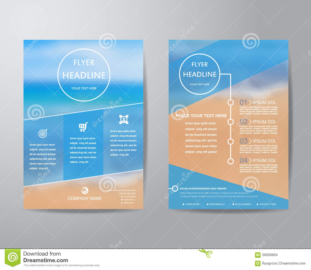 Simple Triangle And Circle Brochure Flyer Design Layout Template ...