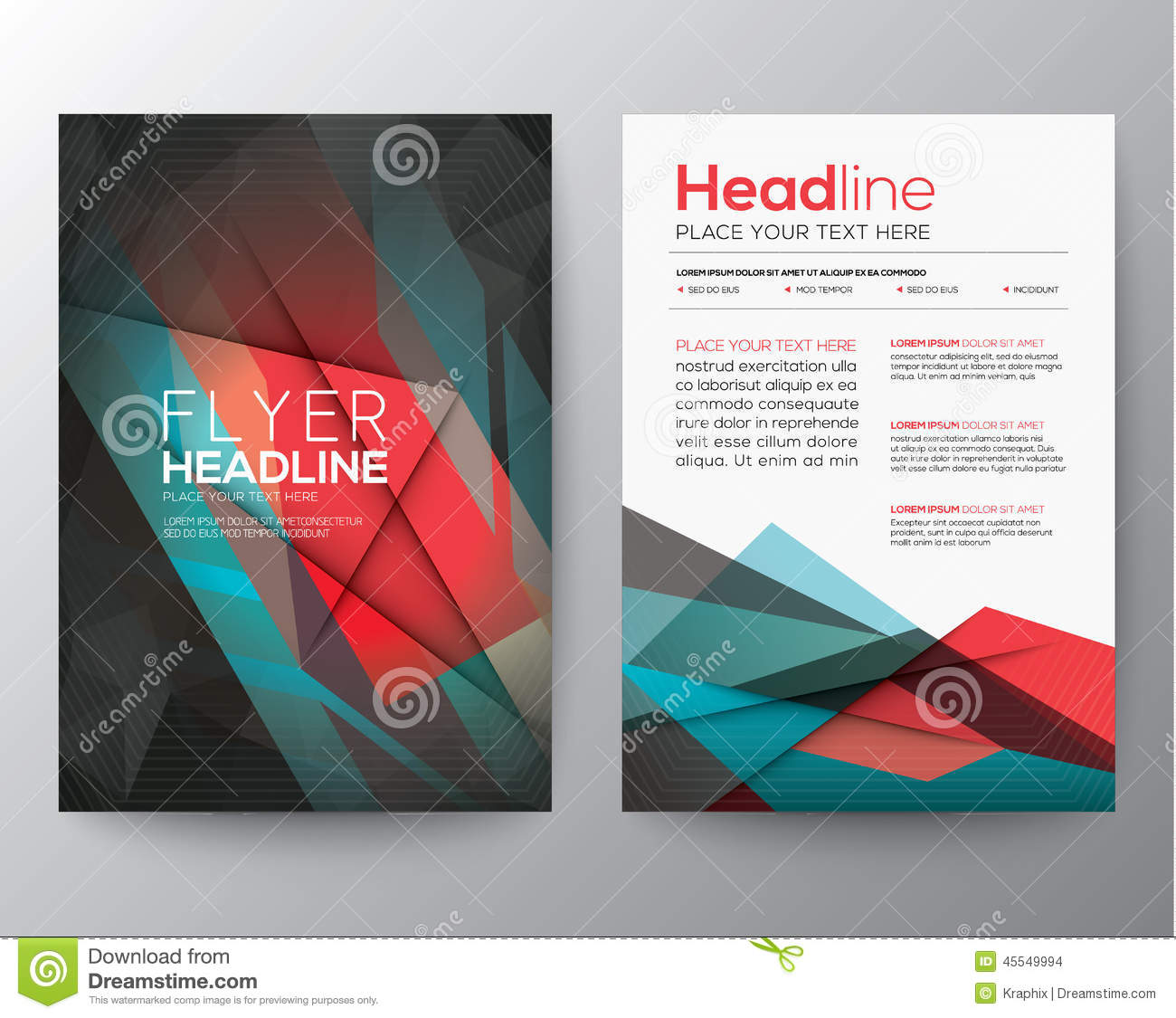 Abstract Triangle Geometric Brochure Flyer Design Layout Template – Geometric Flyer Template