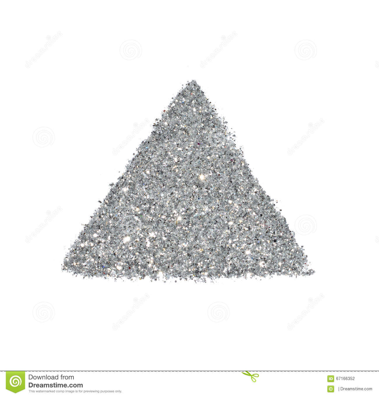Abstract Triangle Or Pyramid Of Silver Glitter Sparkle On White ...