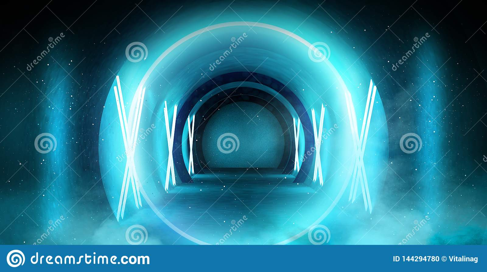 Abstract tunnel, corridor with rays of light and new highlights. Abstract blue background, neon.