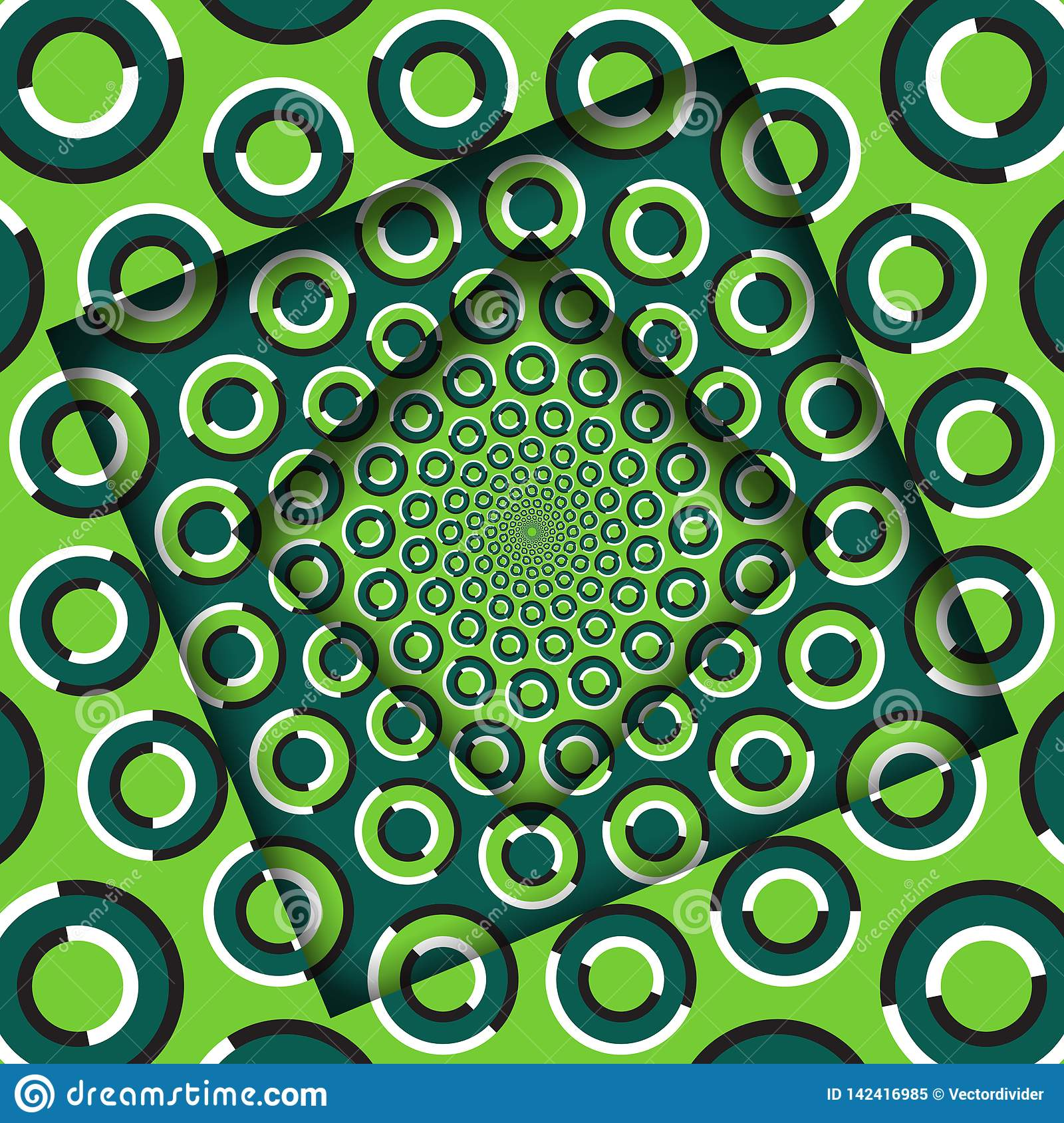Abstract turned frames with a rotating green rings pattern. Optical illusion background