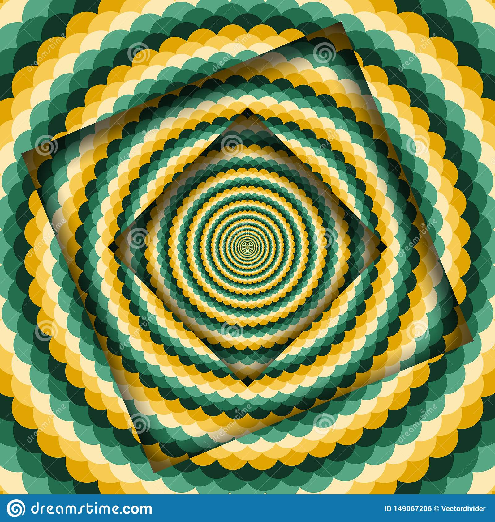 Abstract turned frames with a rotating green yellow wavy pattern. Optical illusion hypnotic background