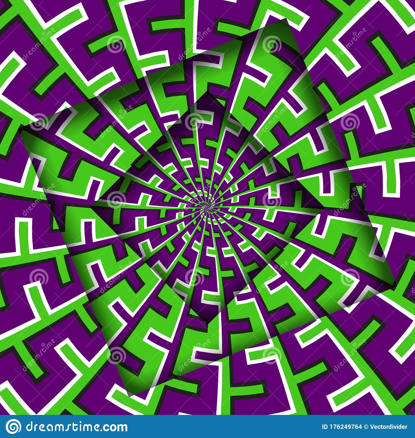 Abstract Turned Frames With A Rotating Green Purple Arrows ... |Spinning Purple Background