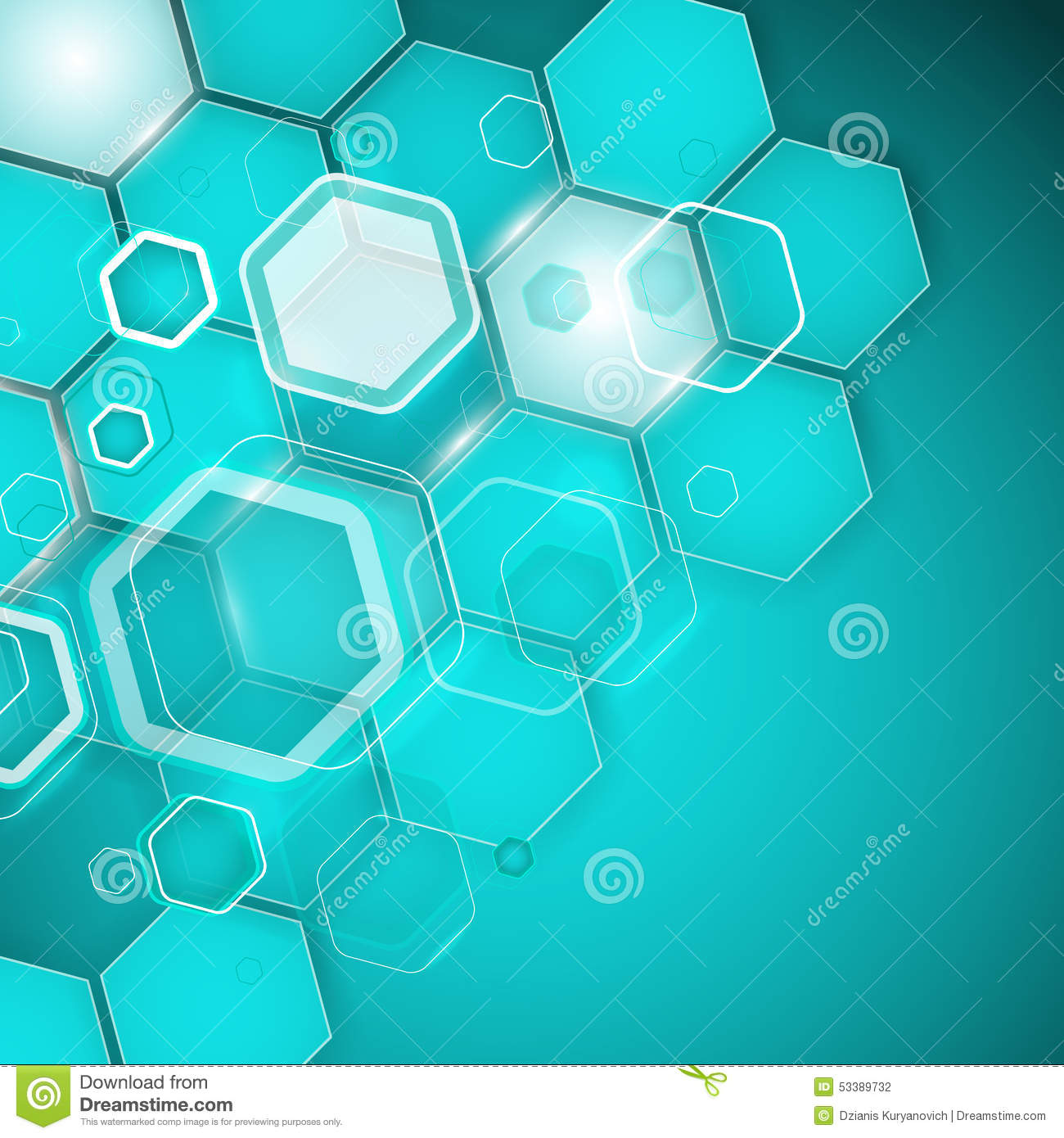 abstract turquoise background hexagon vector illustration