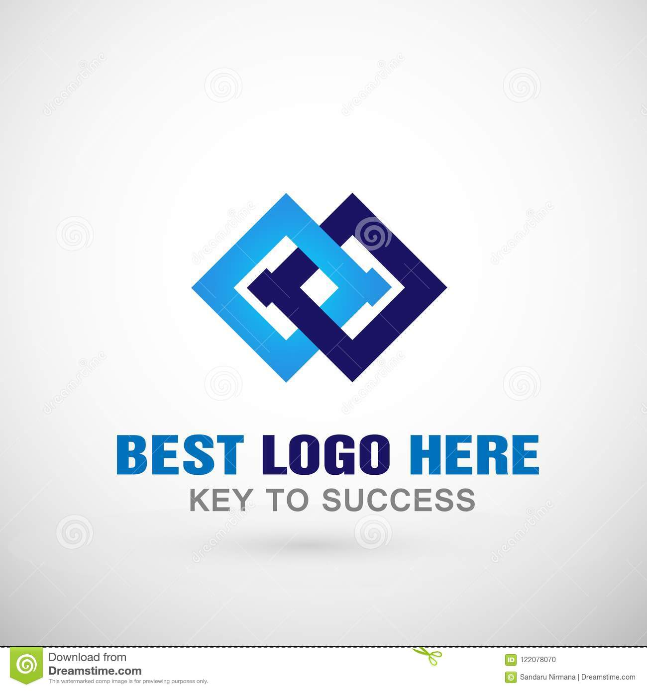 Abstract two square Logo, success on Corporate connections communication concept Business Logo for company