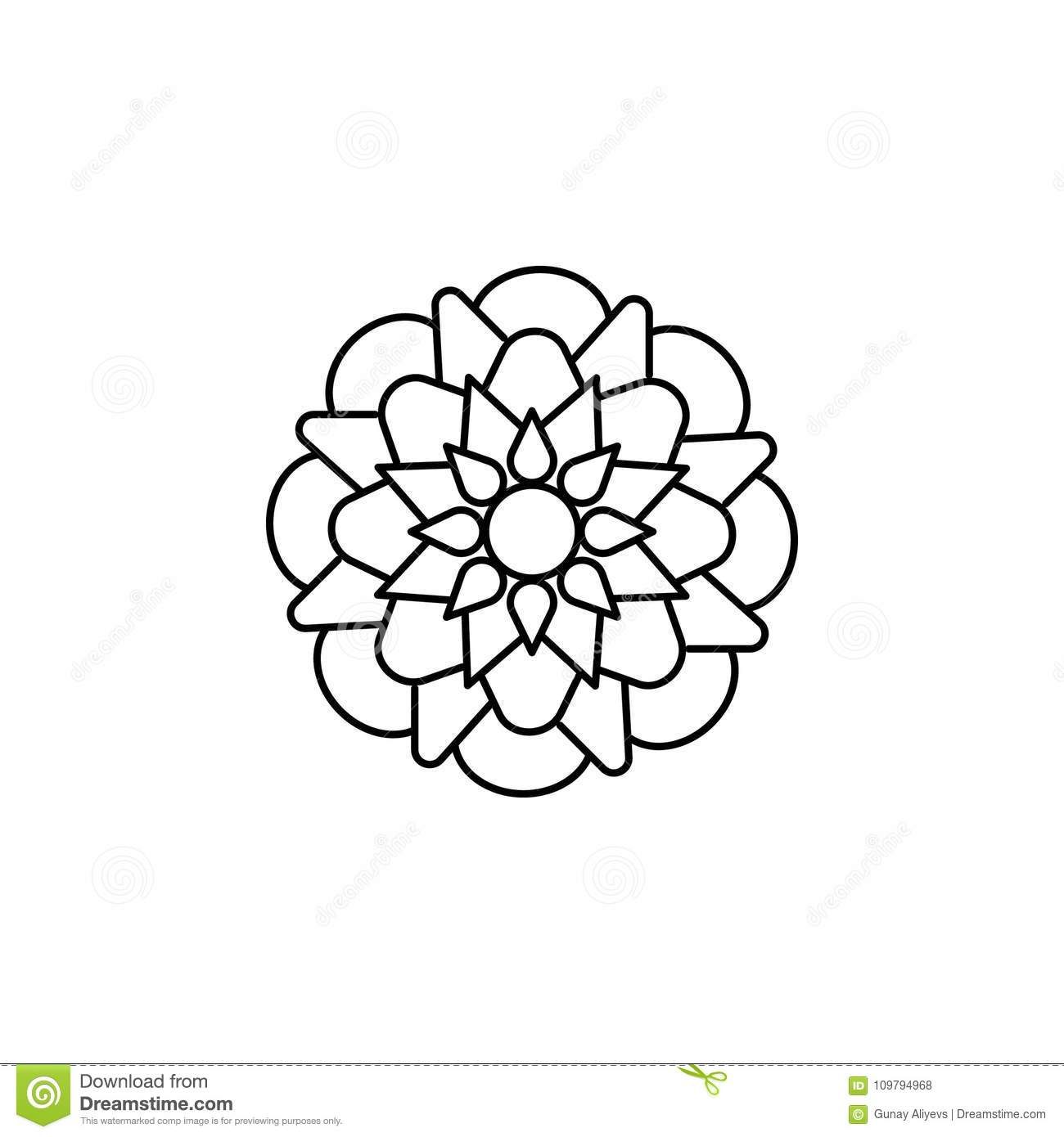 Abstract Type Of Flowers Line Icon Stock Illustration Illustration