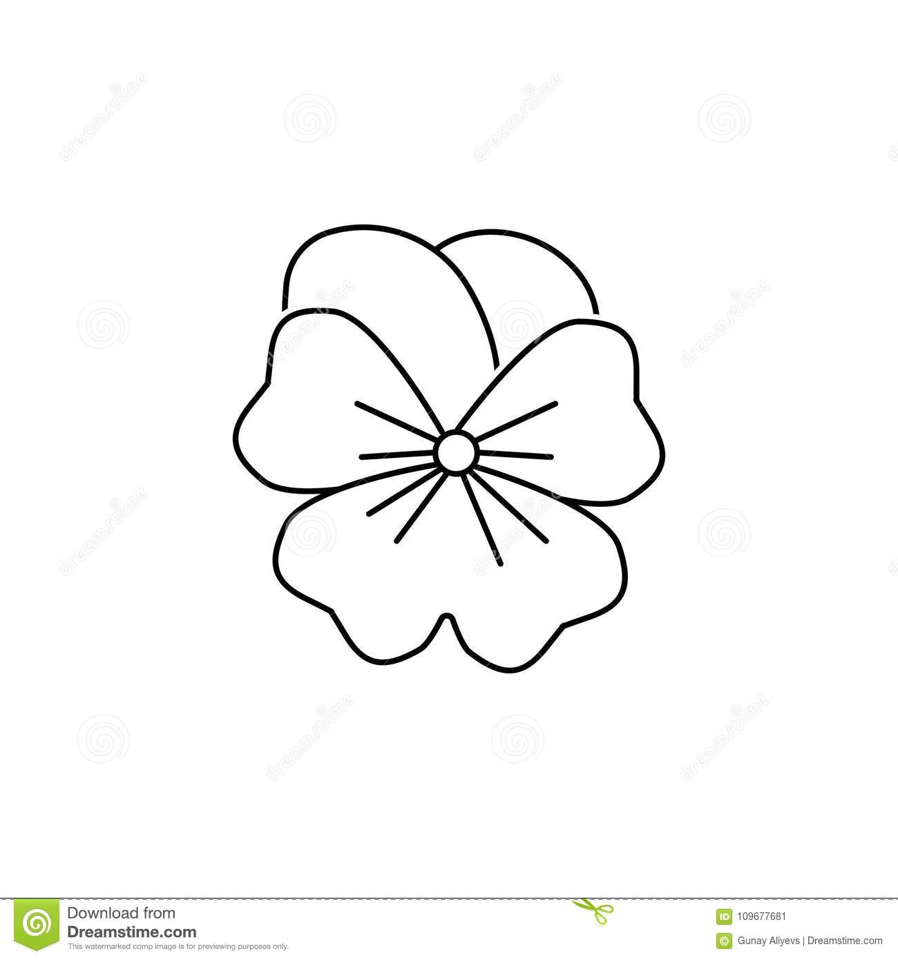 Abstract Type Of Lily Flowers Line Icon Stock Illustration