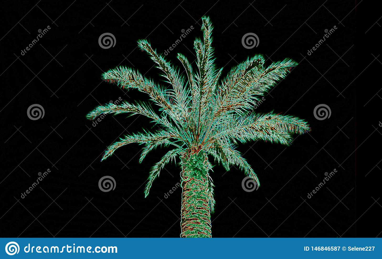 Abstract ufo green colors palm