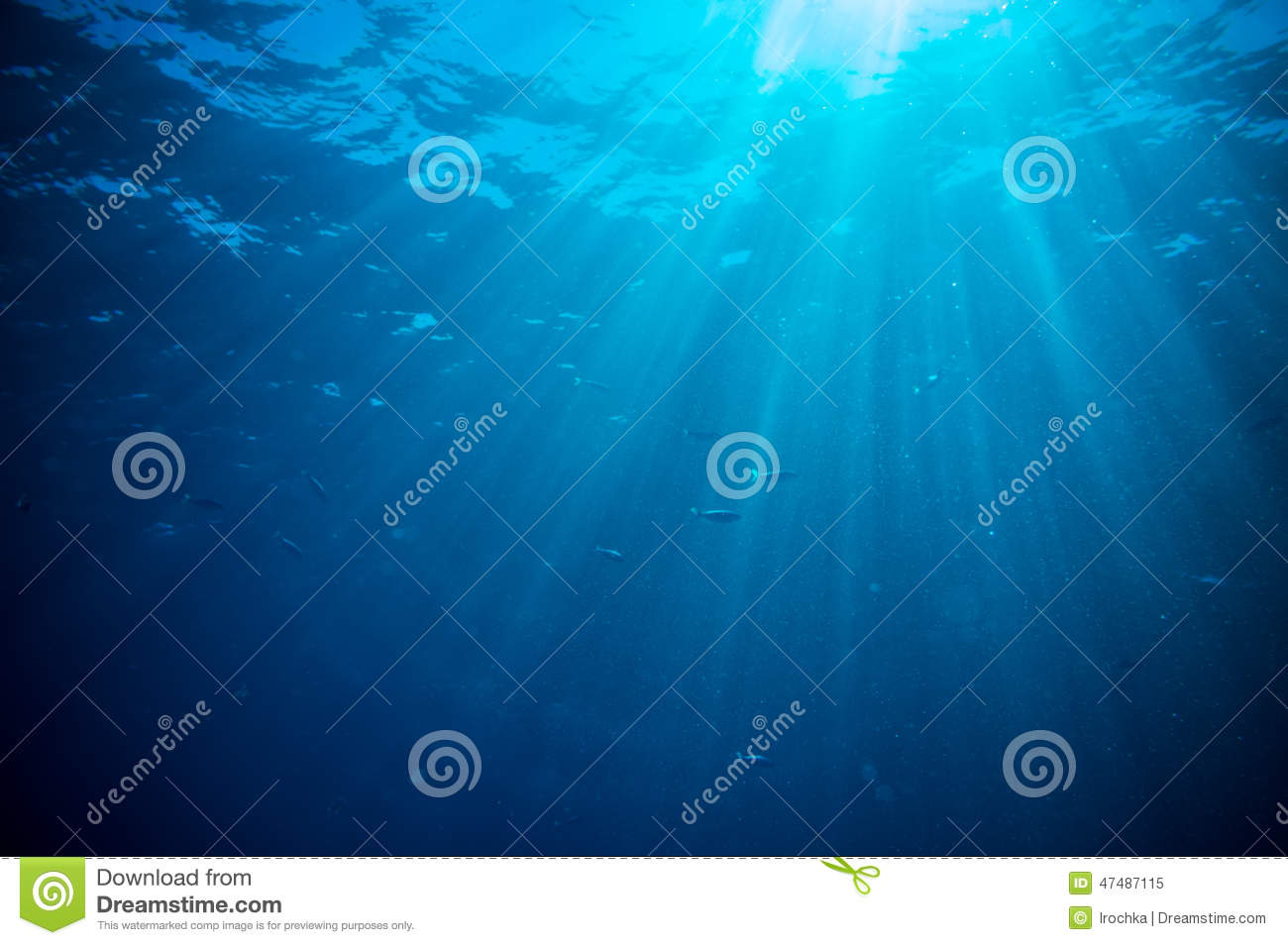 Abstract underwater scene sunrays and air bubbles