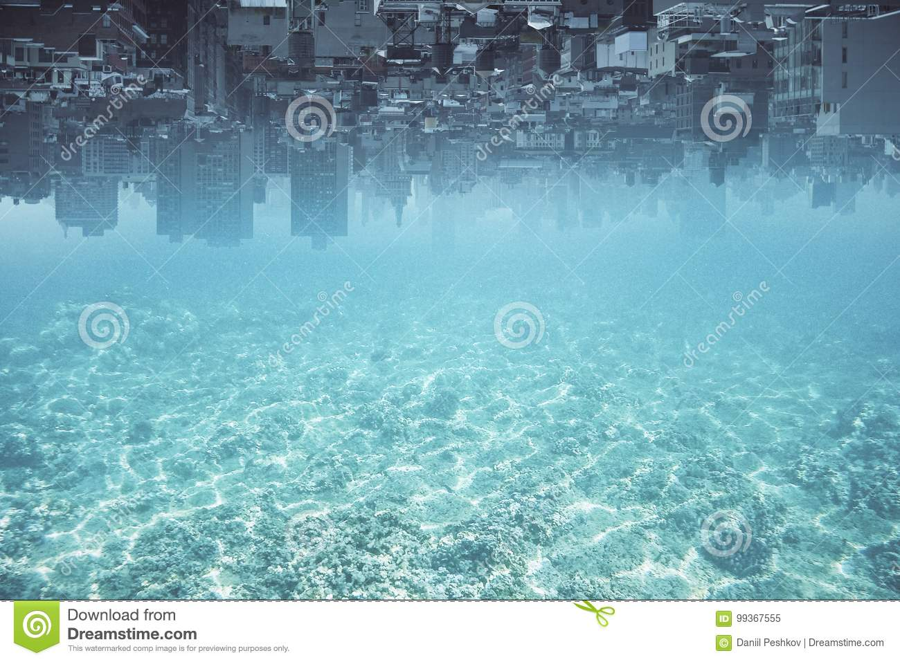 Abstract upside-down water city background