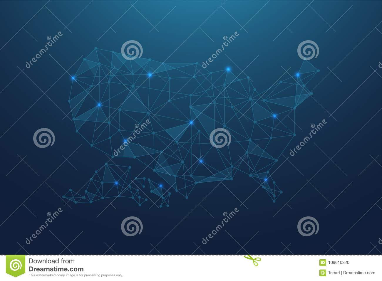 Abstract USA map with Blue Polygonal Space Background with Connecting Lines
