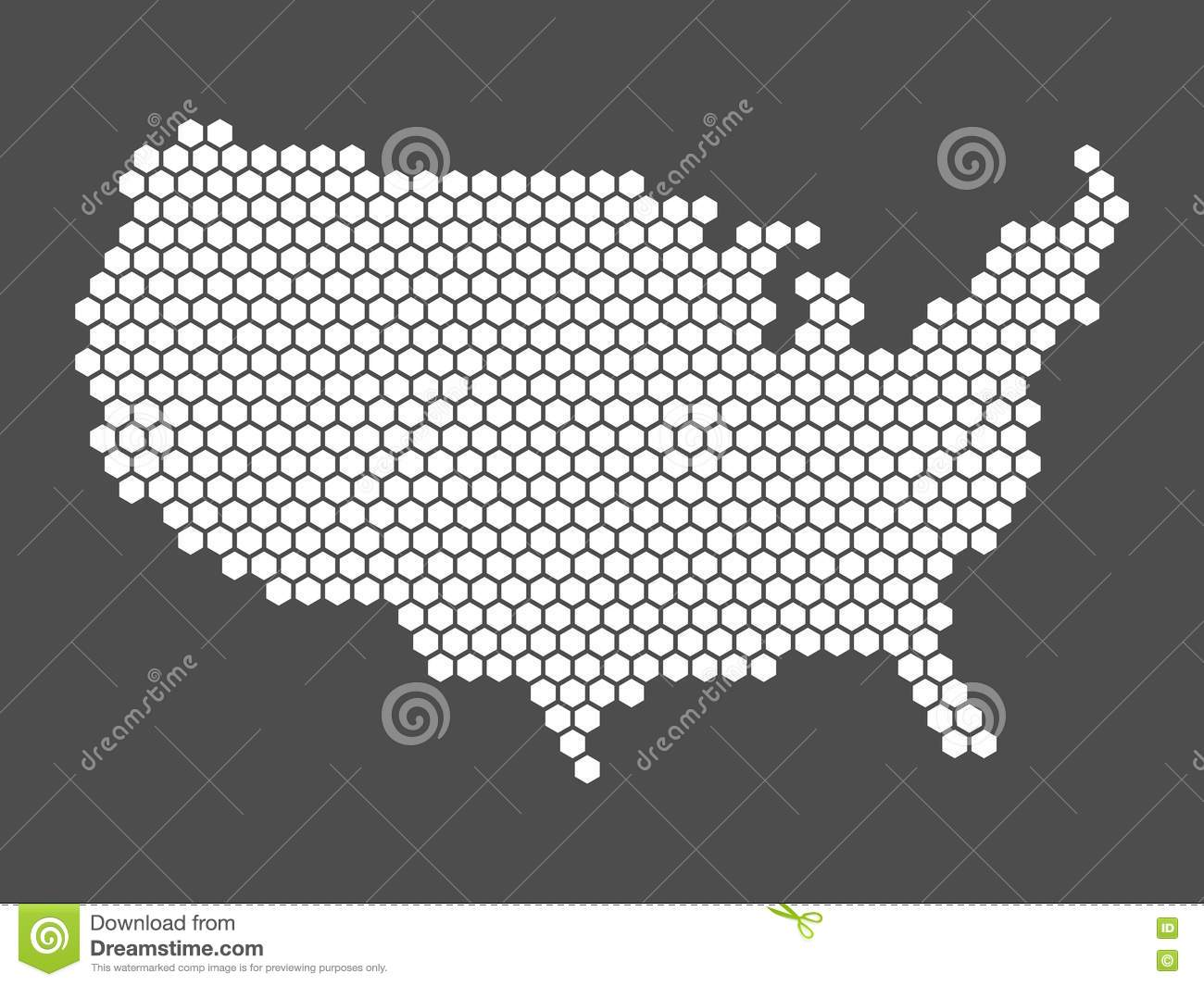 Abstract USA Map Of Hexagons Stock Vector Image - Us flat map