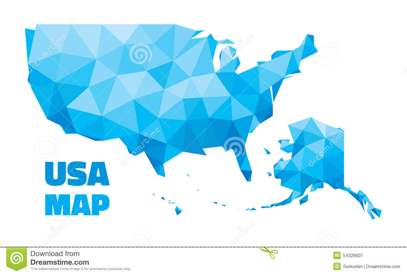 Abstract America Blue Color Design Geometric Ilration Map Presentation States Structure United Usa