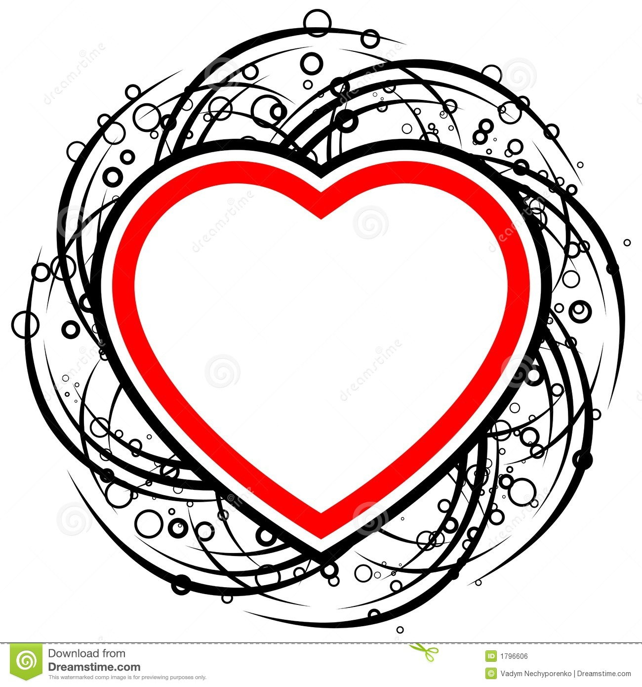 Abstract Valentine Card With Scrolls Circles And Heart Shape – Heart Shaped Valentine Cards