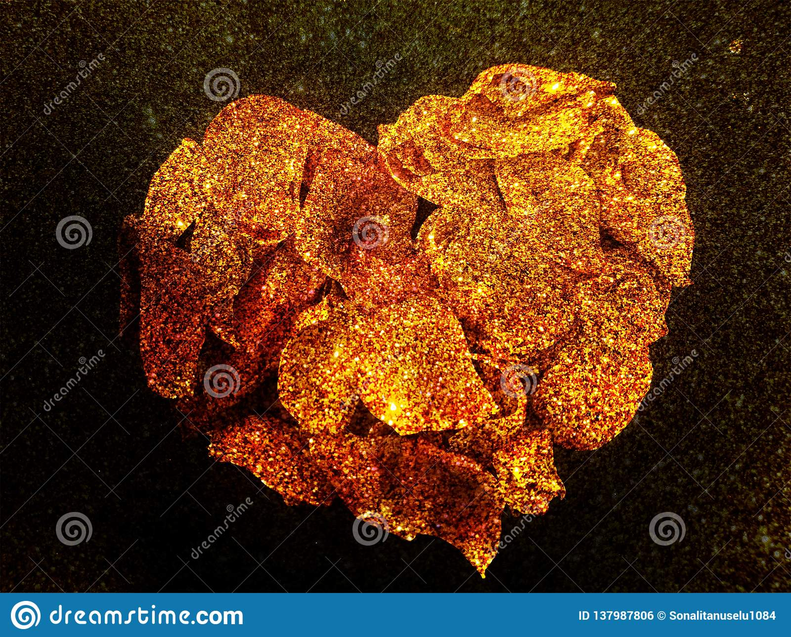 Abstract valentine heart of Rose Rose petals with textured background