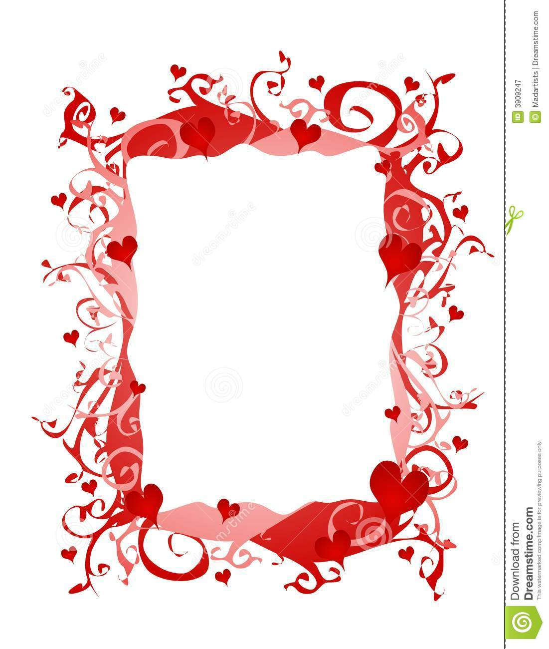 An abstract valentine hearts frame or border in red and pink. If you ...