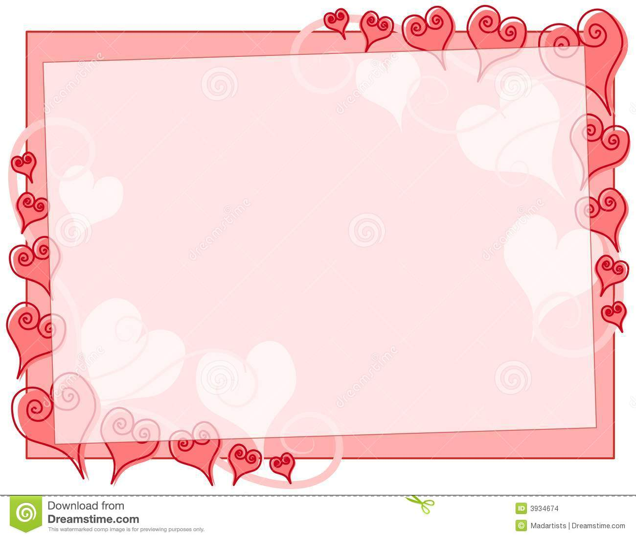 Abstract Valentine's Day Hearts Border Stock Images - Image: 3934674