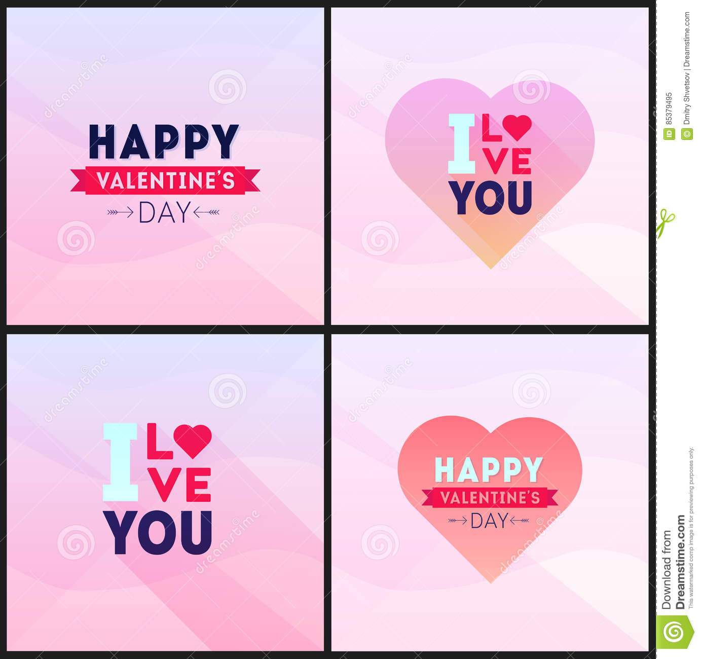 Abstract Valentines Day Posters Set. Vector Greeting Cards With ...