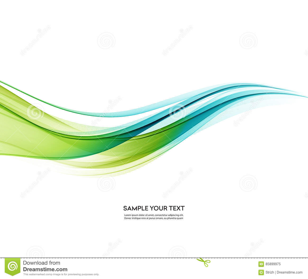 Abstract Vector Background Blue Green Wavy Stock Vector